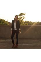 navy banana republic jeans - black Target blazer - white Forever21 top - brown w