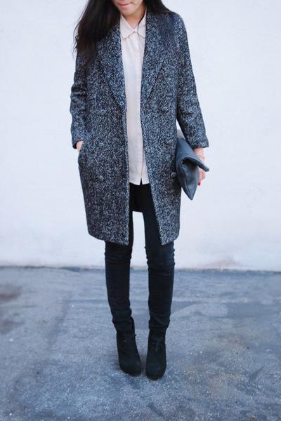 black H&M coat - Barneys boots - American Apparel bag