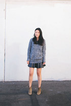 black Zara skirt - camel Isabel Marant boots - navy acne sweater