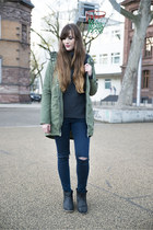 dark gray armedangels sweater - olive green Adidas jacket