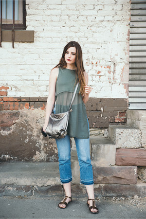 army green New Yorker top - blue H&M jeans - brown vagabond sandals
