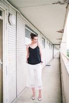 white Zara pants - navy Daniel Wellington watch