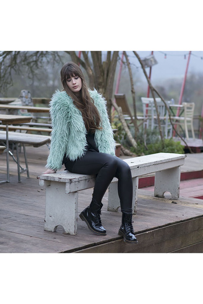 aquamarine Vila jacket - black Dr Martens boots - black asos leggings