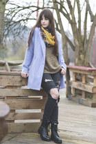 periwinkle new look coat - black mjus boots