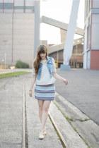sky blue pull&bear skirt - eggshell Bershka boots - blue Primark vest