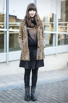 brown H&M coat - black Duffy boots - black Primark skirt