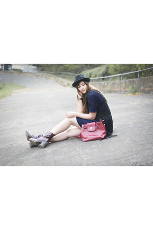black Primark vest - navy Daisy Street dress - black asos hat