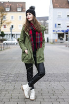 olive green Primark jacket - red Primark scarf - black H&M pants