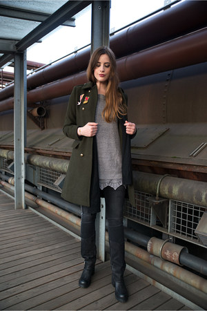 olive green Zara coat