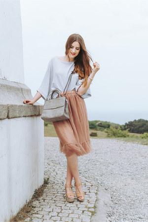 salmon Forever 21 skirt - heather gray Gerry Weber bag
