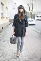 silver Even & Odd heels - heather gray H&M pants
