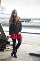 red Forever 21 skirt - black mjus boots
