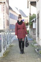 ruby red Mango dress - black liebeskind berlin bag