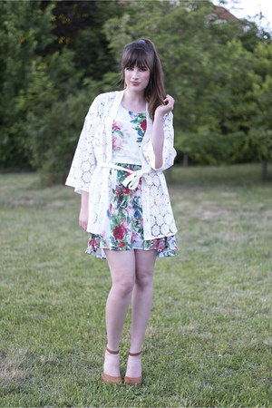 lime green Poppy Lux dress - white H&M cardigan