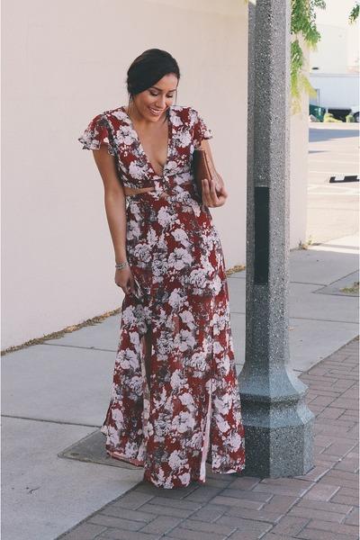 crimson floral Sheinside dress