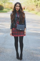 brick red plaid Front Row Shop dress - black bag