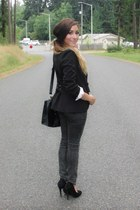 black Forever 21 blazer - dark gray jeans - white aupie blouse