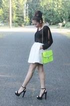 chartreuse sammydress bag - white Forever 21 skirt - black Forever 21 heels