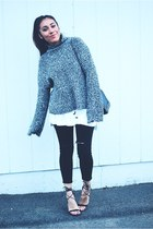 charcoal gray Sheinside sweater - black lace up AmiClubWear heels