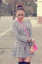 black romwe dress - bubble gum Target bag - black H&M socks