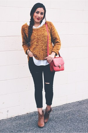 mustard sweater - black jeans - red bag