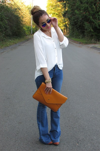 burnt orange OASAP bag - white Forever 21 t-shirt