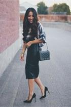black leather Sheinside skirt - heather gray Sheinside coat