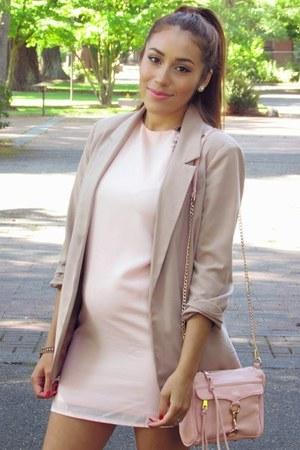 light pink dress - tan f21 blazer