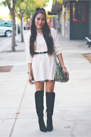 beige Lovelywholesale sweater - black Forever 21 boots