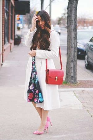 ruby red bag - black floral Sheinside dress - eggshell eShakti coat