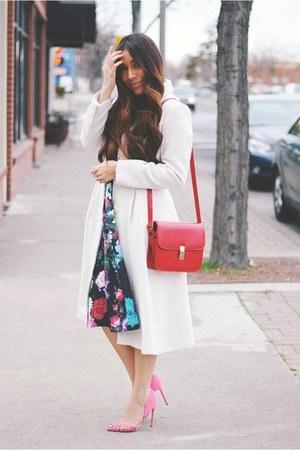 black floral Sheinside dress - eggshell eShakti coat - ruby red bag