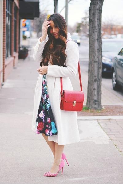 Black-floral-sheinside-dress-eggshell-eshakti-coat-ruby-red-bag