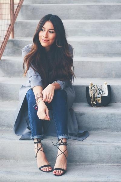 heather gray Sheinside coat - black lace up AmiClubWear heels