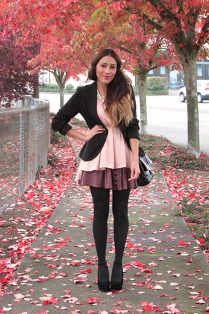 light pink PERSUNMALL dress - black Forever 21 blazer