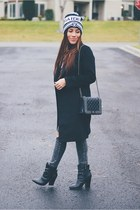 black boots - black Sheinside coat