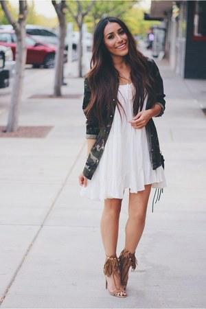 white Sheinside dress - tawny fringe AmiClubWear heels