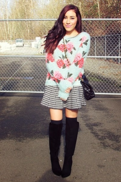 light blue Chicwish sweater - black f21 boots