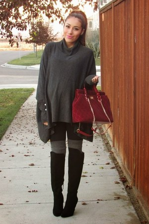 charcoal gray Alfani sweater - black boots - heather gray socks