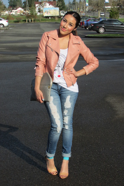 peach Forever 21 jacket - blue Macys jeans - aquamarine Forever 21 heels