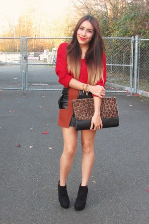 black boots - red MartofChinacom sweater - dark brown MartofChinacom bag