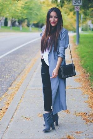 heather gray Sheinside coat - heather gray JustFab boots - black Sheinside jeans