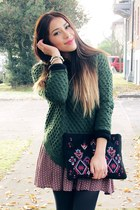 dark green Sheinside sweater - black Chicwish bag