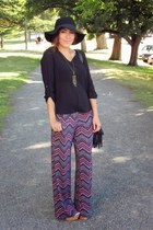 black romwe hat - red Macys pants - tawny f21 wedges