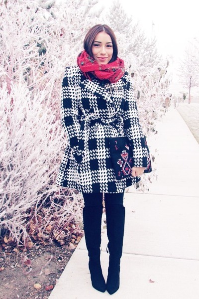 black Via Spiga coat - ruby red Chicwish scarf - brick red Chicwish bag