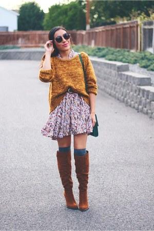 burnt orange Relaxfeel sweater - dark brown Shoedazzle boots