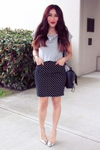 black f21 skirt - heather gray f21 top