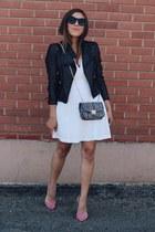 white Baileybluechothing dress - black leather jacket - bubble gum heels