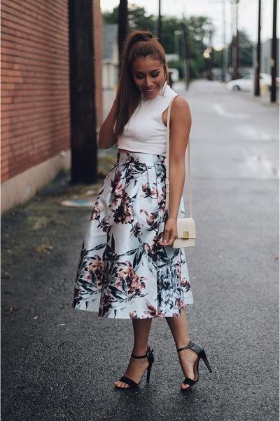 silver floral print Sheinside skirt - ivory Forever 21 bag