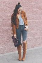 tawny fringe castro jacket - tawny Shoedazzle boots - dark gray Sheinside jeans
