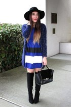 black romwe hat - black Forever 21 boots - blue Rosewholesale dress